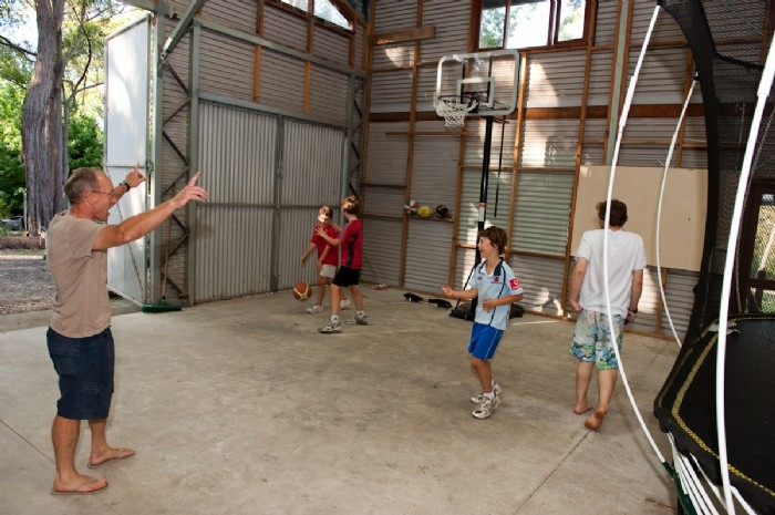 Basketball in the shed